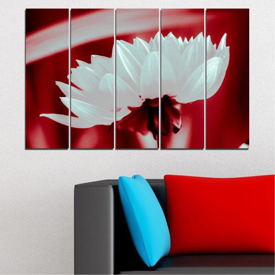 Декоративни панели и картини от канава - от 5 части №0504 » Червен, Сив » Цветя, Природа, Колаж Form #2