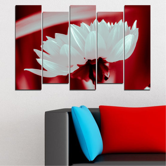 Декоративни панели и картини от канава - от 5 части №0504 » Червен, Сив » Цветя, Природа, Колаж Form #3