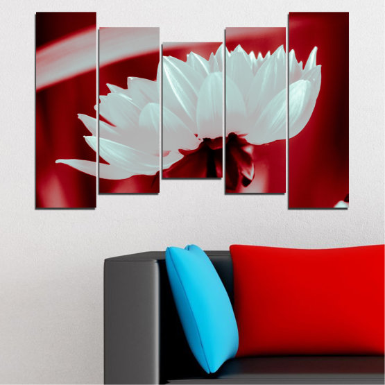 Canvas prints & wall decorative panels - 5 pieces №0504 » Red, Gray » Nature, Flowers, Collage Form #4