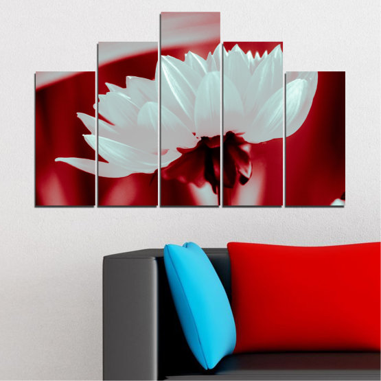 Canvas prints & wall decorative panels - 5 pieces №0504 » Red, Gray » Nature, Flowers, Collage Form #5