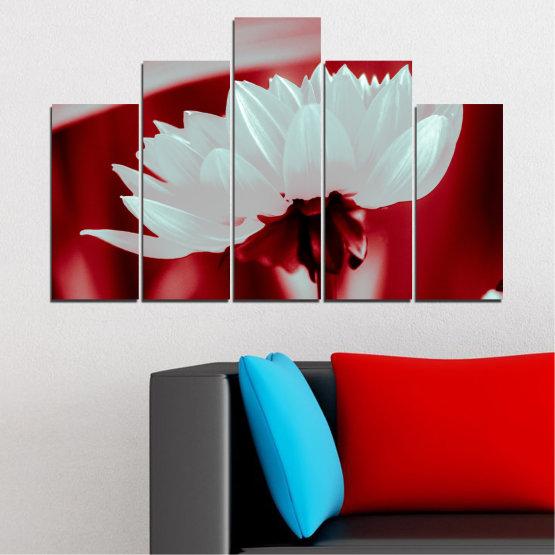 Декоративни панели и картини от канава - от 5 части №0504 » Червен, Сив » Цветя, Природа, Колаж Form #5