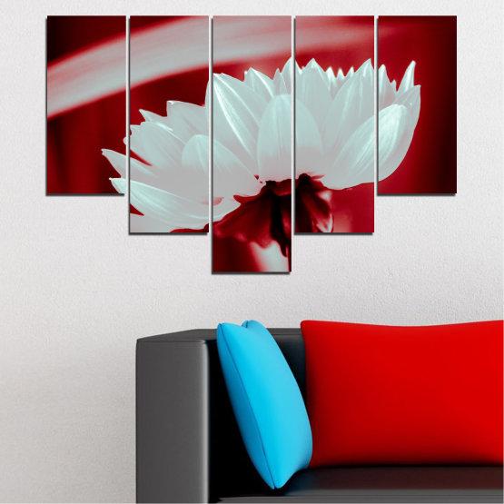 Декоративни панели и картини от канава - от 5 части №0504 » Червен, Сив » Цветя, Природа, Колаж Form #6