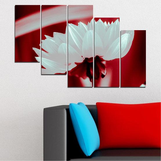 Декоративни панели и картини от канава - от 5 части №0504 » Червен, Сив » Цветя, Природа, Колаж Form #7