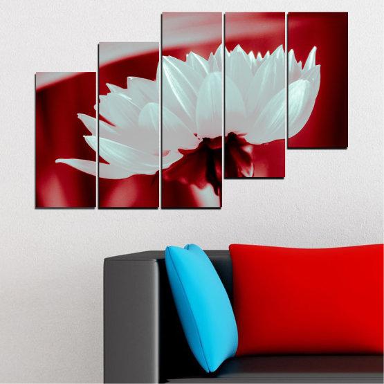 Декоративни панели и картини от канава - от 5 части №0504 » Червен, Сив » Цветя, Природа, Колаж Form #8