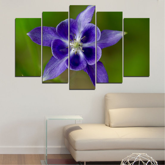 Canvas prints & wall decorative panels - 5 pieces №0505 » Purple, Blue, Green, Gray » Nature, Flowers, Garden Form #1