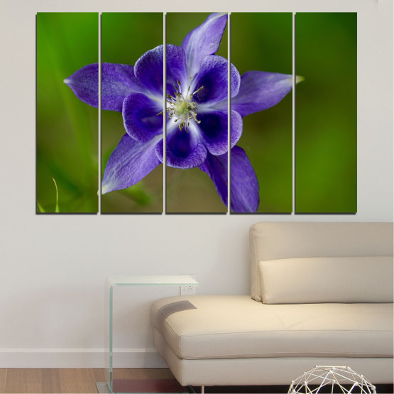 Canvas prints & wall decorative panels - 5 pieces №0505 » Purple, Blue, Green, Gray » Nature, Flowers, Garden Form #2