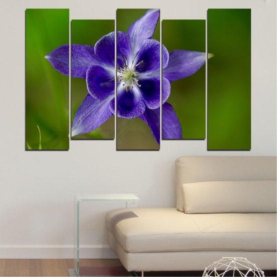Canvas prints & wall decorative panels - 5 pieces №0505 » Purple, Blue, Green, Gray » Nature, Flowers, Garden Form #3