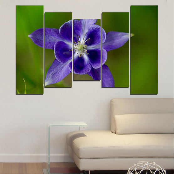 Canvas prints & wall decorative panels - 5 pieces №0505 » Purple, Blue, Green, Gray » Nature, Flowers, Garden Form #4