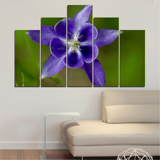 Canvas prints & wall decorative panels - 5 pieces №0505 » Purple, Blue, Green, Gray » Nature, Flowers, Garden Form #5