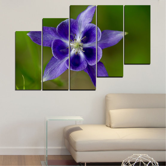 Canvas prints & wall decorative panels - 5 pieces №0505 » Purple, Blue, Green, Gray » Nature, Flowers, Garden Form #8