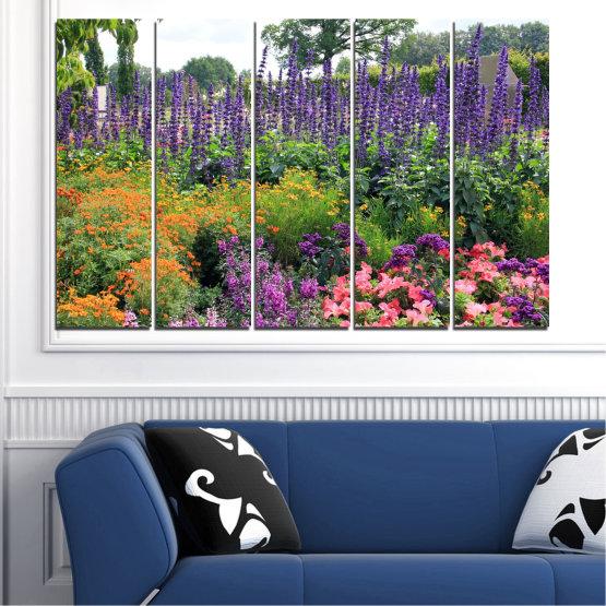 Декоративни панели и картини от канава - от 5 части №0506 » Зелен, Кафяв, Сив, Бял, Тъмно сив » Природа, Цветя, Градина Form #2