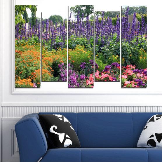 Декоративни панели и картини от канава - от 5 части №0506 » Зелен, Кафяв, Сив, Бял, Тъмно сив » Природа, Цветя, Градина Form #3