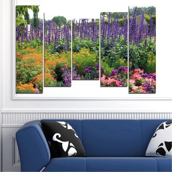 Декоративни панели и картини от канава - от 5 части №0506 » Зелен, Кафяв, Сив, Бял, Тъмно сив » Природа, Цветя, Градина Form #4