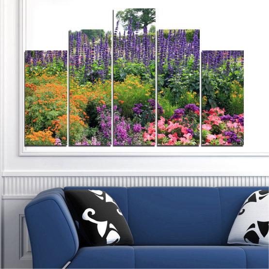 Декоративни панели и картини от канава - от 5 части №0506 » Зелен, Кафяв, Сив, Бял, Тъмно сив » Природа, Цветя, Градина Form #5