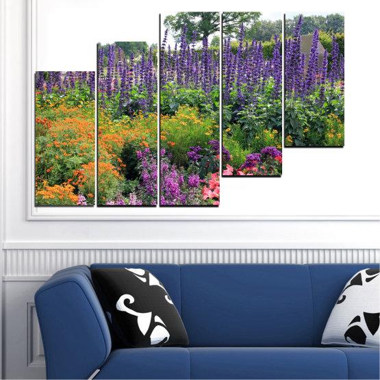 Декоративни панели и картини от канава - от 5 части №0506 » Зелен, Кафяв, Сив, Бял, Тъмно сив » Природа, Цветя, Градина Form #8
