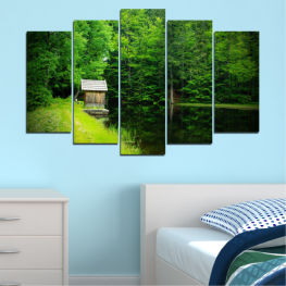 Nature, Landscape, Forest, Water, House » Green, Black, Dark grey