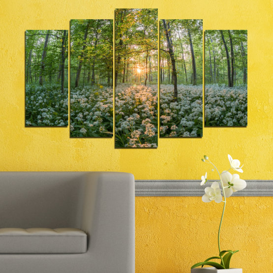 Canvas prints & wall decorative panels - 5 pieces №0508 » Green, Brown, Black, Gray, Dark grey » Nature, Flowers, Forest, Sun, Meadow Form #1