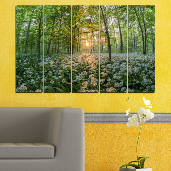 Canvas prints & wall decorative panels - 5 pieces №0508 » Green, Brown, Black, Gray, Dark grey » Nature, Flowers, Forest, Sun, Meadow Form #2