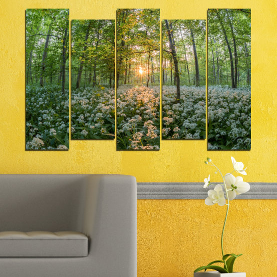 Canvas prints & wall decorative panels - 5 pieces №0508 » Green, Brown, Black, Gray, Dark grey » Nature, Flowers, Forest, Sun, Meadow Form #3