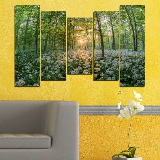 Canvas prints & wall decorative panels - 5 pieces №0508 » Green, Brown, Black, Gray, Dark grey » Nature, Flowers, Forest, Sun, Meadow Form #4