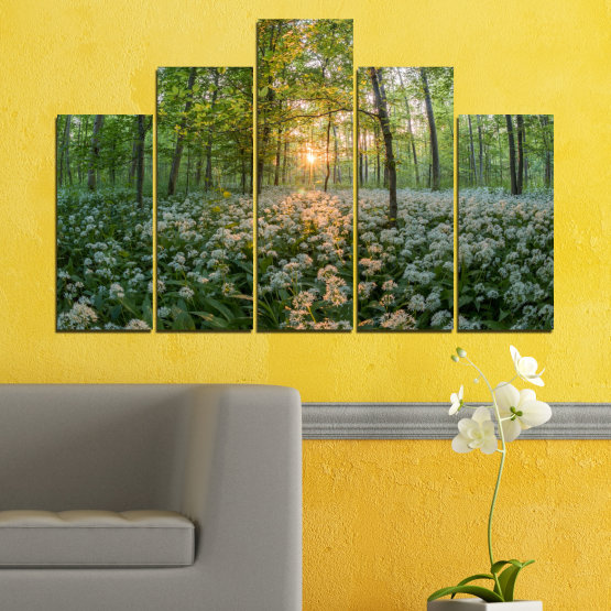 Canvas prints & wall decorative panels - 5 pieces №0508 » Green, Brown, Black, Gray, Dark grey » Nature, Flowers, Forest, Sun, Meadow Form #5