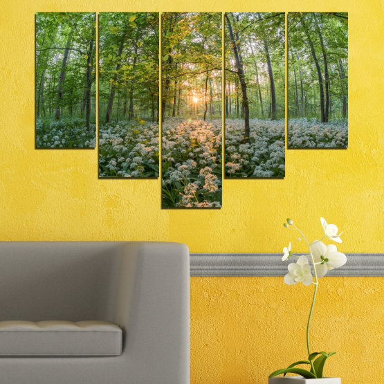 Canvas prints & wall decorative panels - 5 pieces №0508 » Green, Brown, Black, Gray, Dark grey » Nature, Flowers, Forest, Sun, Meadow Form #6