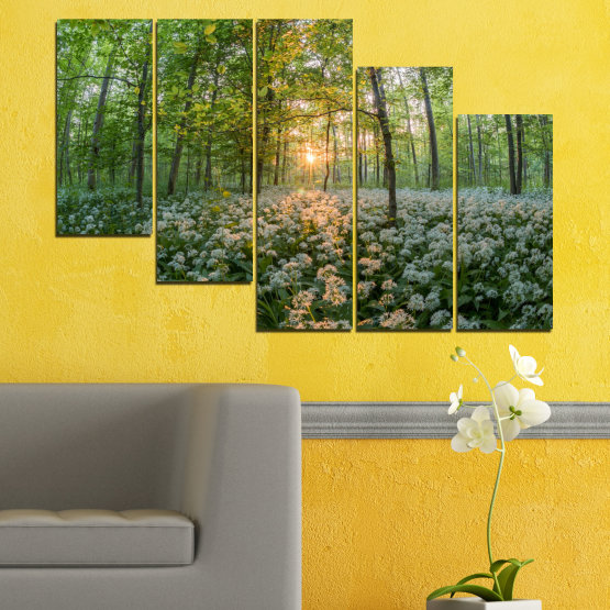 Canvas prints & wall decorative panels - 5 pieces №0508 » Green, Brown, Black, Gray, Dark grey » Nature, Flowers, Forest, Sun, Meadow Form #7