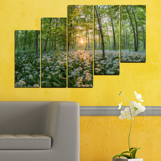 Canvas prints & wall decorative panels - 5 pieces №0508 » Green, Brown, Black, Gray, Dark grey » Nature, Flowers, Forest, Sun, Meadow Form #8