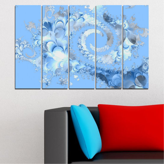 Canvas prints & wall decorative panels - 5 pieces №0509 » Turquoise, Gray, White » Abstraction, Spiral, Leaf Form #2