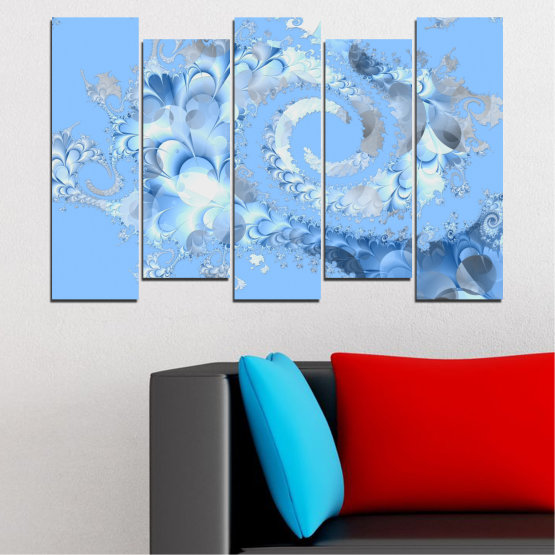 Canvas prints & wall decorative panels - 5 pieces №0509 » Turquoise, Gray, White » Abstraction, Spiral, Leaf Form #3