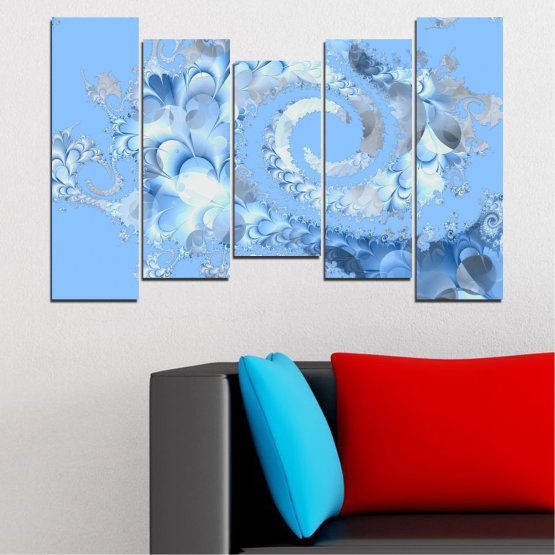 Canvas prints & wall decorative panels - 5 pieces №0509 » Turquoise, Gray, White » Abstraction, Spiral, Leaf Form #4