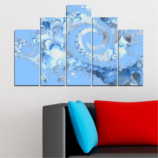 Canvas prints & wall decorative panels - 5 pieces №0509 » Turquoise, Gray, White » Abstraction, Spiral, Leaf Form #5
