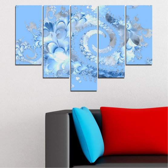 Canvas prints & wall decorative panels - 5 pieces №0509 » Turquoise, Gray, White » Abstraction, Spiral, Leaf Form #6