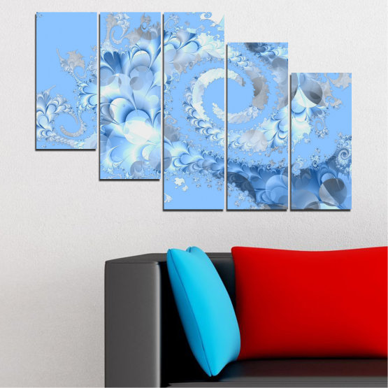 Canvas prints & wall decorative panels - 5 pieces №0509 » Turquoise, Gray, White » Abstraction, Spiral, Leaf Form #7