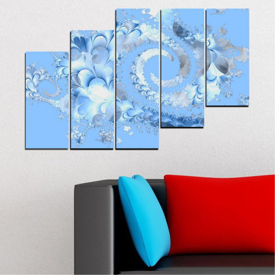 Canvas prints & wall decorative panels - 5 pieces №0509 » Turquoise, Gray, White » Abstraction, Spiral, Leaf Form #8