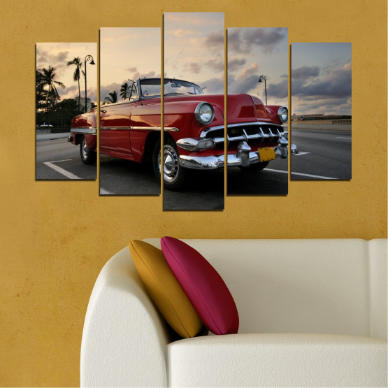 Canvas prints & wall decorative panels - 5 pieces №0051 » Red, Black, Gray, Beige, Dark grey » Retro, Vehicle, Car, Road Form #1