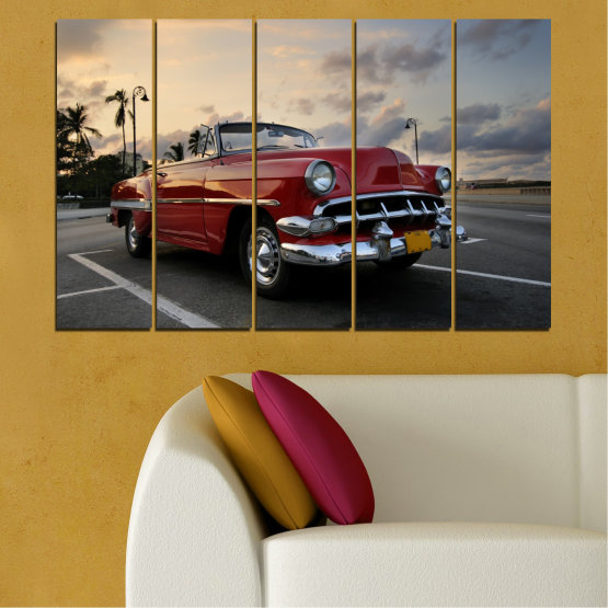 Canvas prints & wall decorative panels - 5 pieces №0051 » Red, Black, Gray, Beige, Dark grey » Retro, Vehicle, Car, Road Form #2