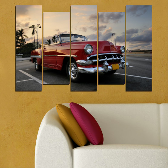 Canvas prints & wall decorative panels - 5 pieces №0051 » Red, Black, Gray, Beige, Dark grey » Retro, Vehicle, Car, Road Form #3