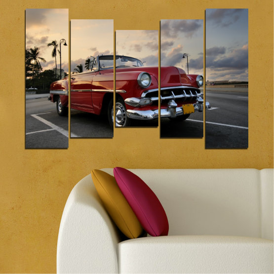 Canvas prints & wall decorative panels - 5 pieces №0051 » Red, Black, Gray, Beige, Dark grey » Retro, Vehicle, Car, Road Form #4