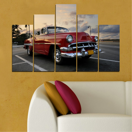 Canvas prints & wall decorative panels - 5 pieces №0051 » Red, Black, Gray, Beige, Dark grey » Retro, Vehicle, Car, Road Form #5