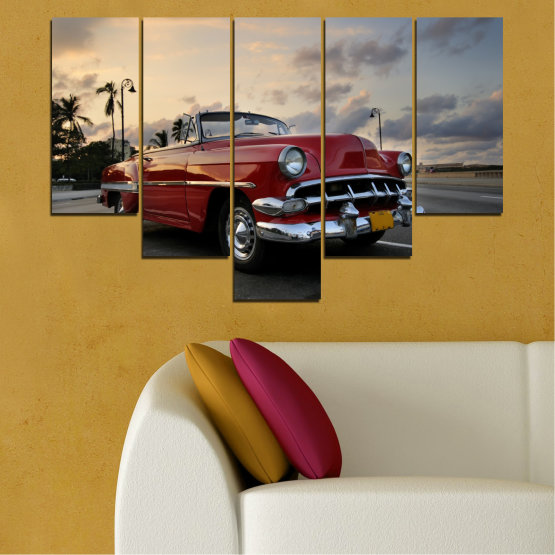 Canvas prints & wall decorative panels - 5 pieces №0051 » Red, Black, Gray, Beige, Dark grey » Retro, Vehicle, Car, Road Form #6
