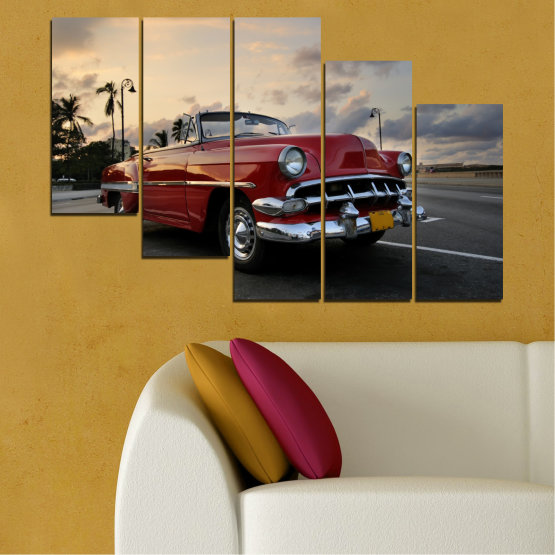 Canvas prints & wall decorative panels - 5 pieces №0051 » Red, Black, Gray, Beige, Dark grey » Retro, Car, Vehicle, Road Form #7