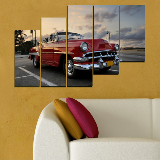 Canvas prints & wall decorative panels - 5 pieces №0051 » Red, Black, Gray, Beige, Dark grey » Retro, Vehicle, Car, Road Form #8