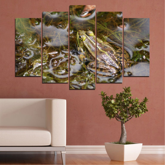 Canvas prints & wall decorative panels - 5 pieces №0510 » Green, Brown, Gray, Dark grey » Water, Frog, Reptile Form #1