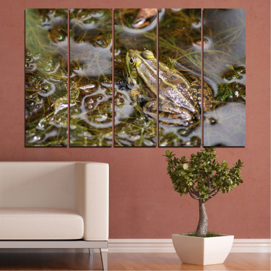 Canvas prints & wall decorative panels - 5 pieces №0510 » Green, Brown, Gray, Dark grey » Water, Frog, Reptile Form #2