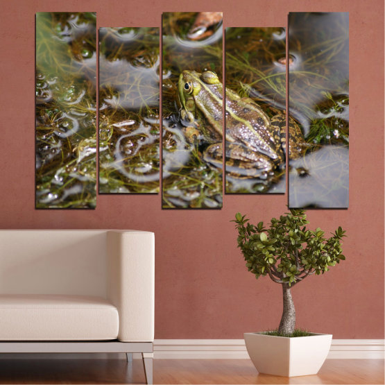 Canvas prints & wall decorative panels - 5 pieces №0510 » Green, Brown, Gray, Dark grey » Water, Frog, Reptile Form #3
