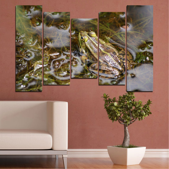 Canvas prints & wall decorative panels - 5 pieces №0510 » Green, Brown, Gray, Dark grey » Water, Frog, Reptile Form #4