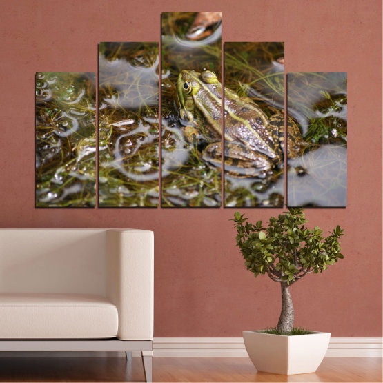 Canvas prints & wall decorative panels - 5 pieces №0510 » Green, Brown, Gray, Dark grey » Water, Frog, Reptile Form #5