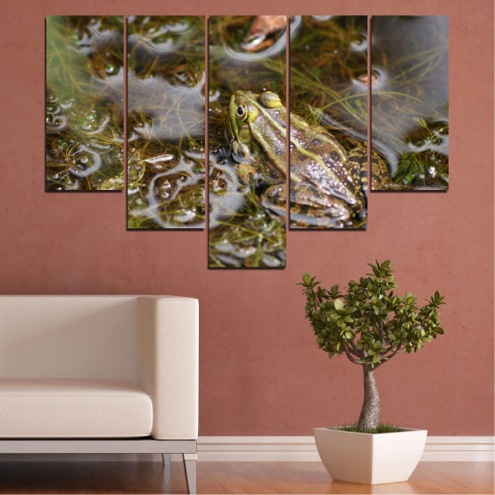 Canvas prints & wall decorative panels - 5 pieces №0510 » Green, Brown, Gray, Dark grey » Water, Frog, Reptile Form #6