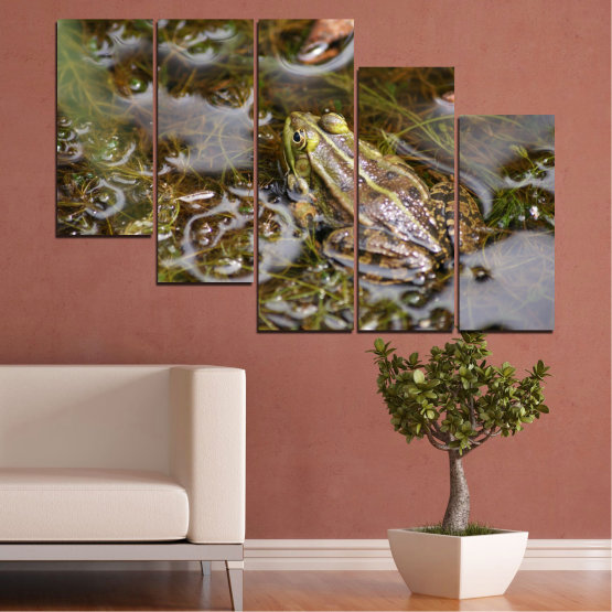 Canvas prints & wall decorative panels - 5 pieces №0510 » Green, Brown, Gray, Dark grey » Water, Frog, Reptile Form #7